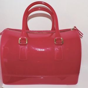 FURLA Candy Bag Pink PVC Purse Italy Satchel